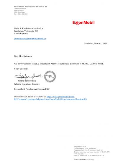 Certifikát autorizovaného distributora