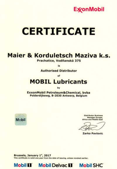 Autorizace společnosti ExxonMobil pro rok 2017