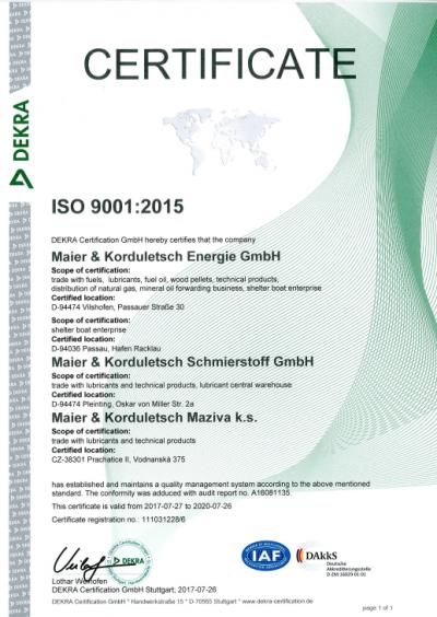 Certifikát ISO 9001:2015 společnosti Dekra