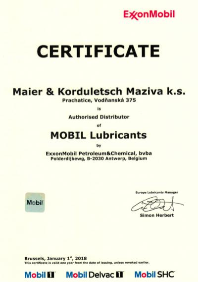 Certifikát pro rok 2018